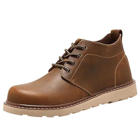 Amlaiworld Zapatillas De Hombre Zapatos de vestir Hombres Zapatos con cordones Para hombre Botas Zapatos de hombre (Café, EU42 CN 43)