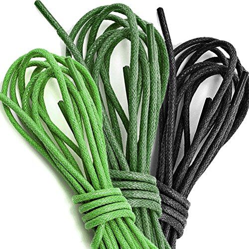 3 Paia Pack Dailyshoes Cerate Rotonde Lacci Per Scarpe Da Trekking Eleganti Scarpe Piatte Oxford Nero, Verde Scuro, Verde (3 Paia)