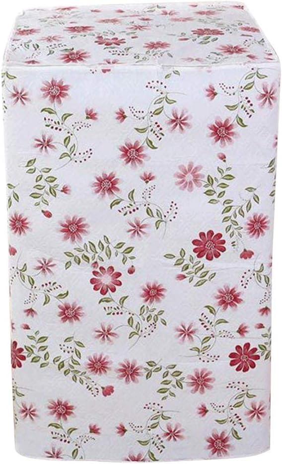 VOSAREA Funda de protección para lavadora Carga Delantera Lavadora Secadora Impermeable 56 x 60 x 82 cm (Diseño de flores rojas)