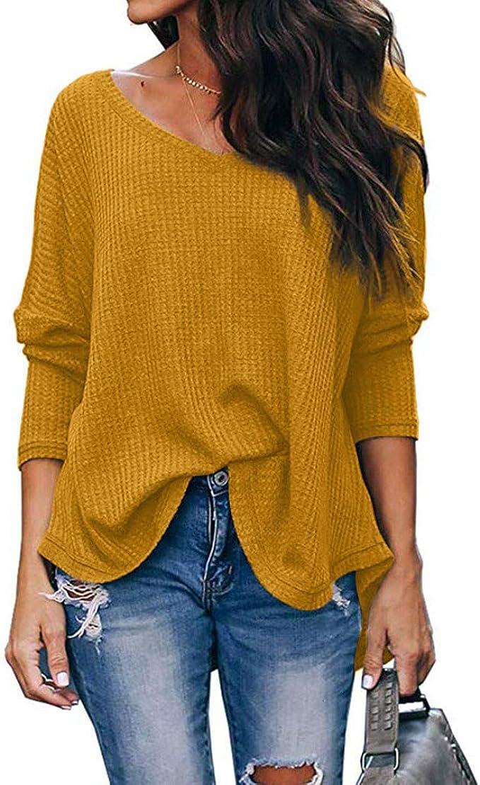 JiaMeng Sudaderas Básico Suéter de Moda O-Cuello Otoño ...
