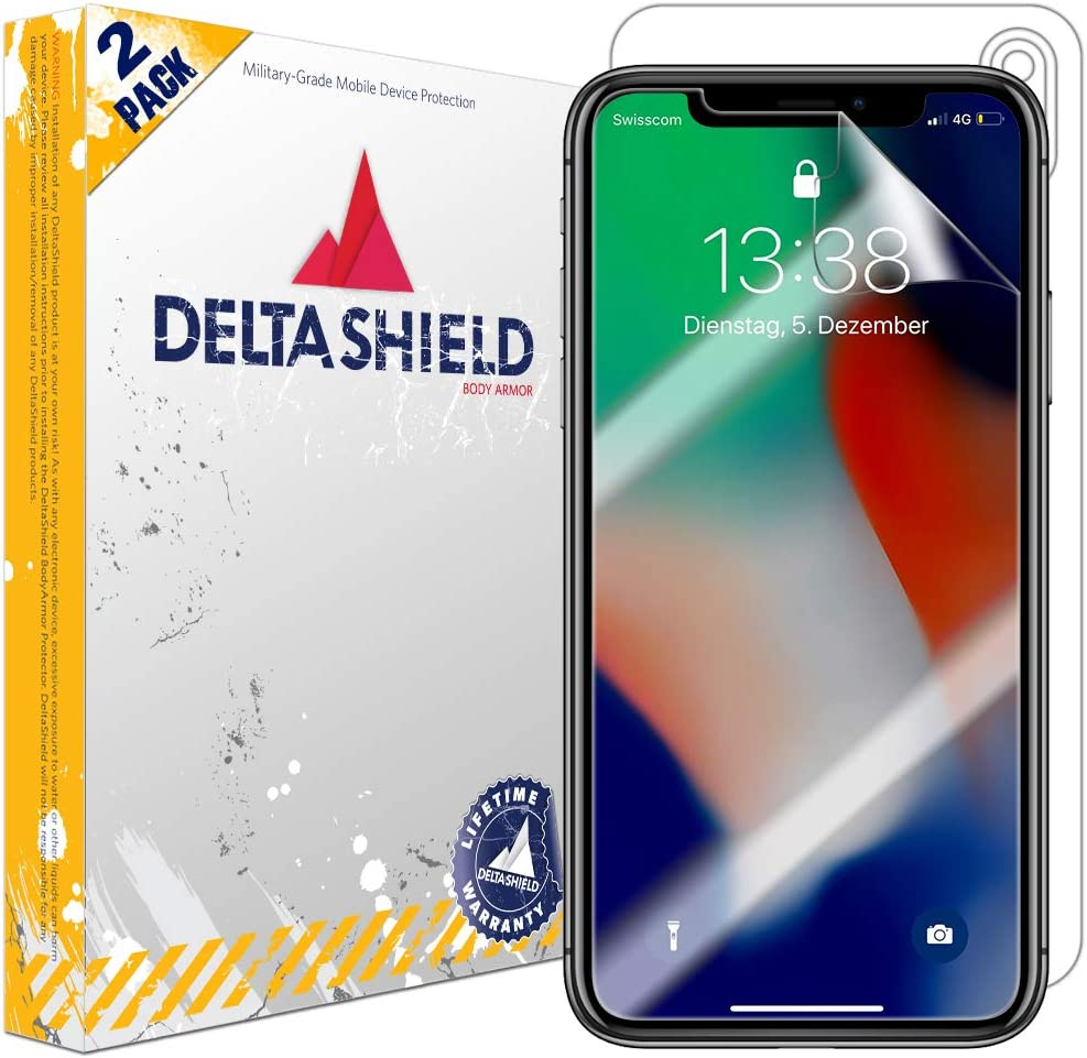 6.5 inch Screen Protector Included 2-Pack Front and Back Protector BodyArmor Non-Bubble Military-Grade Clear HD Film DeltaShield Full Body Skin for Apple iPhone Xs Max