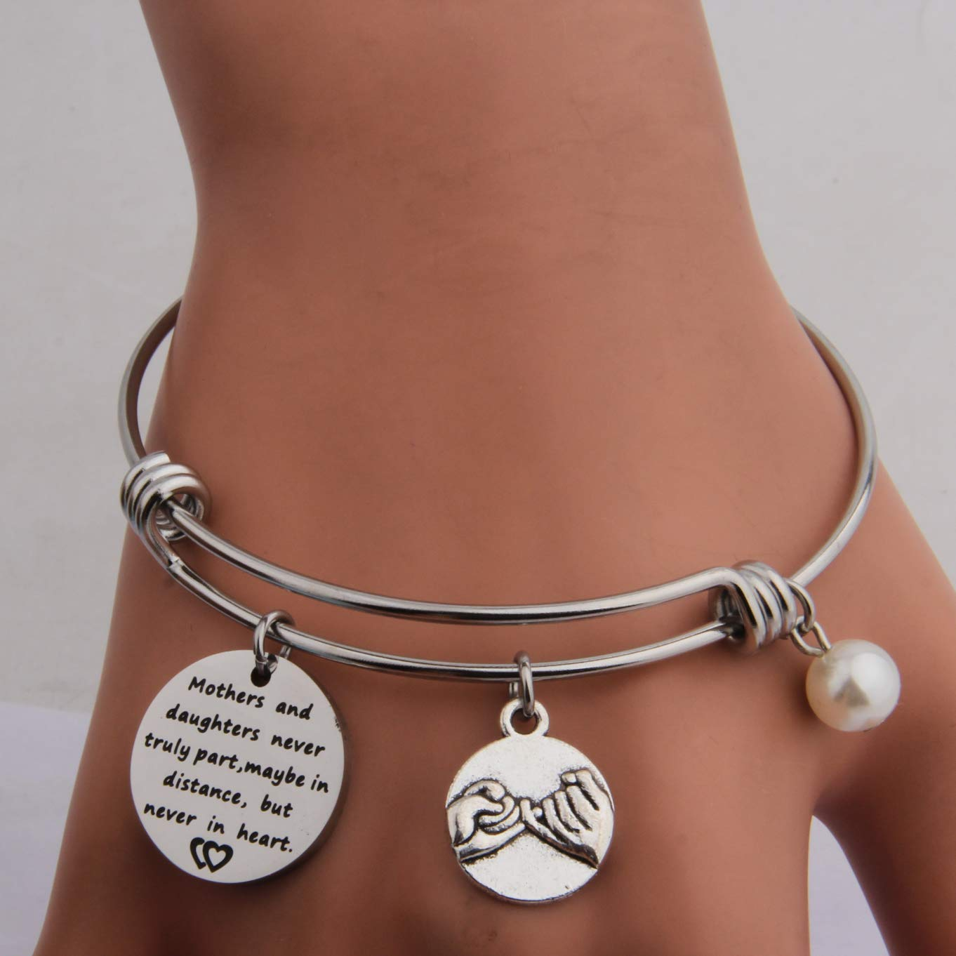 QIIER Mothers and Daughters Maybe in Distance But Never Truly Part But Never in Heart Bangle Bracelet Mother Daughter Long Distance Relationship Gift