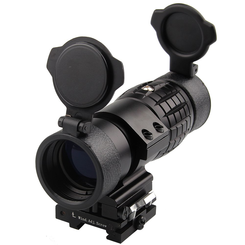 Bumlon Magnifier Scope 3X Flip Up To Side Tactical Magnification Optic AR 15 Accessories Lens Covers for Red Dot Sight Picatinny Rail by Bumlon