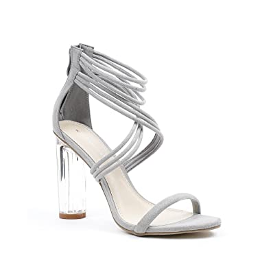 Jiliana Avec Ideal Daim Sandales Transparent Shoes Effet Talon Gris OPiwXTkZul