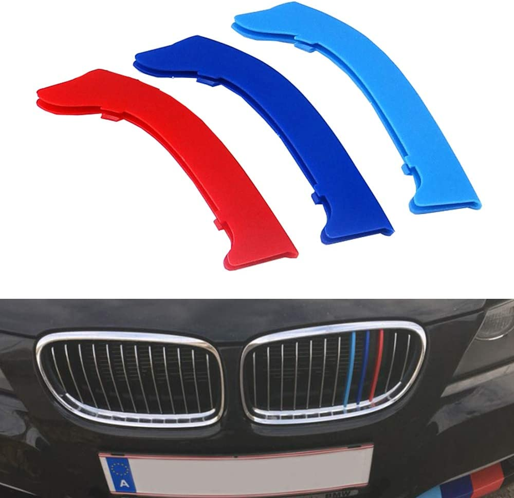 3D Front Grille Trim Strips Grill Cover Motorsport Stickers Rear View Mirror Rain Eyebrow Shield Shade Cover for 2005-2008 E90 E91 5PCS