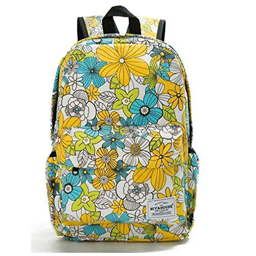 Travel Bags Adolescent Floral The Bags Canvas Girls Pack Women For Backpack Bag 1037b Print Vintage School 44rFxTa