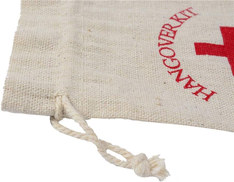 passaggio kit Vosarea 20PCS Burlap Bags 14/x 10/cm con coulisse sacchetti Hangover kit recupero kit kit di sopravvivenza con coulisse sacchetti sacchetti di favore sacchetti di mussola