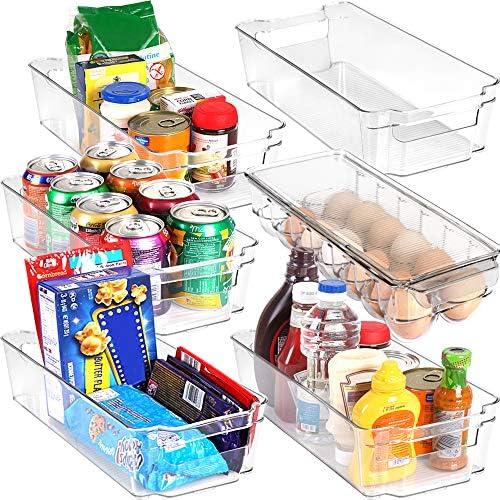 KICHLY (6er-Set) Kühlschrank-Pantry-Organizer - inklusive 6 Organizer 5 Schubladen & 1 Eierablage, stapelbare Kühlschrank-Organizer für Gefrierschrank, Küche, Arbeitsplatten, Schränke