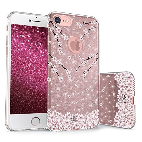 True Color Case Compatible iPhone 7 / iPhone 8 Glitter Case, Sparkase Sparkly Falling Cherry Blossom Flowers Print Three-Layer Hybrid Girly Case Shockproof TPU Outer Cover on Rose ()