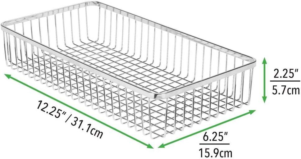 mDesign Juego de 2 organizadores de cajones universales de Metal Cuberteros para ordenar los Utensilios y Accesorios de Cocina en los cajones Negro Cestas met/álicas para Cocina y hogar
