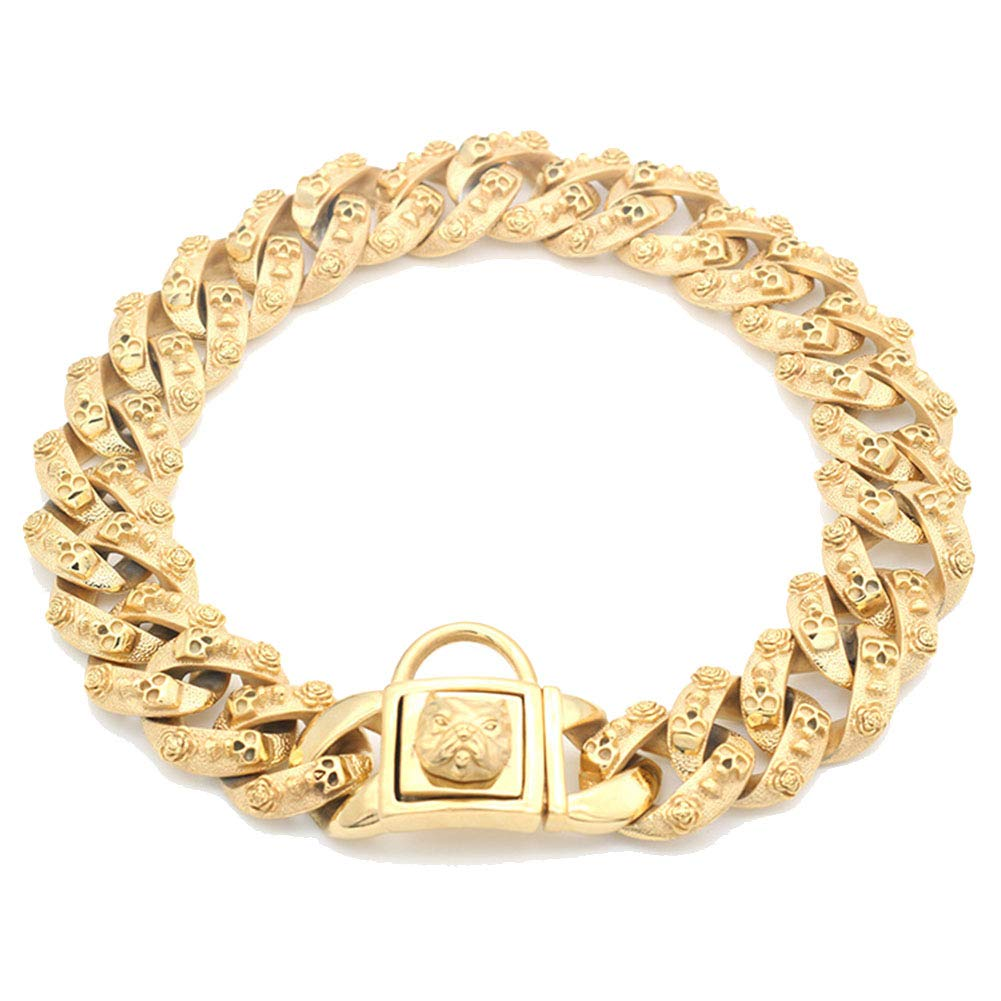 MUJING 30 mm Wide Hip Hop Gold Tone Cut Curb Cuban Link 316L Stainless Steel Dog Choke Chain Collar 40-70 cm,XXXL by MUJING (Image #1)