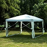 Uenjoy Canopy Gazebo Outdoor 10'x10' Pop Up Party Tent Mesh Mosquito Net Patio Tan