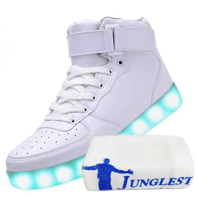 [Present:kleines Handtuch]Weiß 37 JUNGLEST Led Freizeit Damen High weise Neu Schuhe Licht Light Blinkende Leuchtende ogyeNF