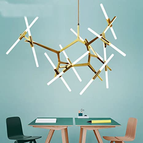 Industrial Chandelier Modern Metal Acrylic Branch Pendant Lamp Light  Ceiling Fixtures for Living Room Dining Room Lighting (20-Light Gold)