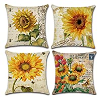KACOPOL Cotton Linen Pillow Covers Vintage Oil Painting Sunflower Home Decor Throw Pillow Cases Cushion Cover for Sofa Couch Bed Car Square 18x18 InchesSet of 4