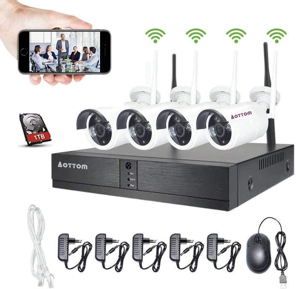Wlan Videoüberwachung Set Kabellos Aottom 8ch 1080p Wlan Überwachungskamera System 1 Tb Hdd 8ch Nvr 4x2mp Überwachungskameras Outdoor Bewegungserkennung P2p Beweungsmelder Wasserdicht Baumarkt