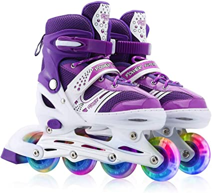 Kids Adjustable Inline Skates with Flashing Light Up Wheels for Boys and Girls,Ice Skating Equipment Small/&Medium Size Safe and Durable Children Roller Skates for Beginner
