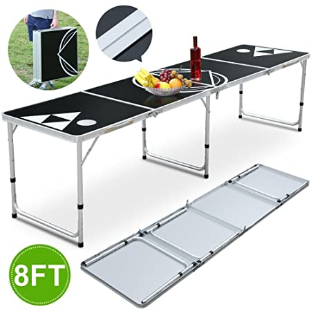 Topeakmart 8ft Party Beer Pong Table Portable Toss Game Table Beer Pong Tables