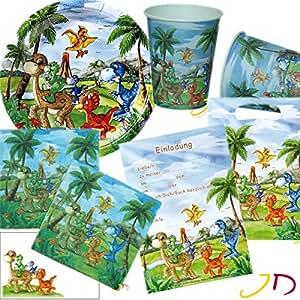 Döll-Verlag Dino - Set de fiesta de cumpleaños (12 platos, vasos, servilletas, invitaciones, bolsitas, globos y mucho más, 105 piezas, texto en idioma alemán)