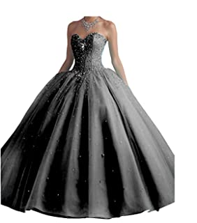 Chupeng Womens Silvery Beaded Ball Gown Quinceanera Party Dresses Prom Long Dresses with Crystal Sequins