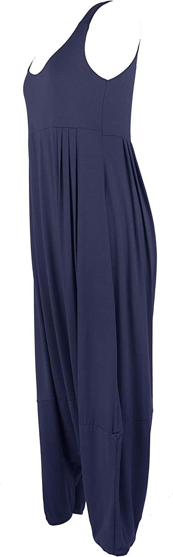 TEXTURE Ladies Womens Italian Lagenlook Plain Sleeveless Strappy Pleat Detail Viscose Jersey Tulip Jumpsuit Romper One Size