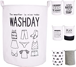 "CAM2 21.6"" Laundry Baskets Collapsible Waterproof Cotton Linen Foldable Laundry Hampers Storage Bin Organizer Baskets with Handles for Clothes, Toy, Nursery, Bedroom (Washday)"