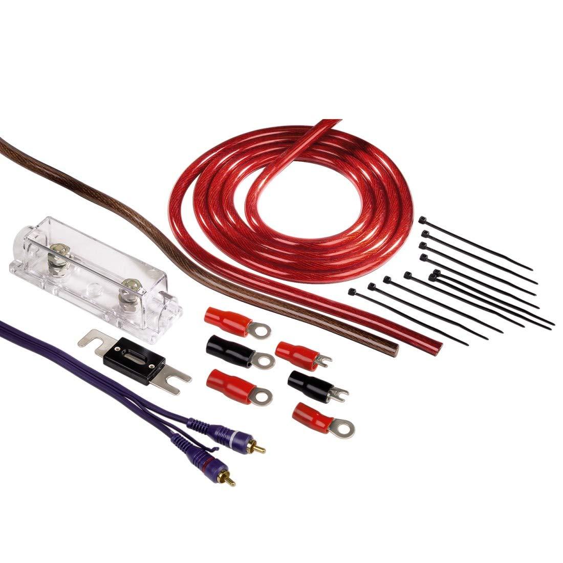 50 mm/² , Cinchkabel, Sicherungshalter, Sicherung, Gabelkabelschuhen und Kabelbinder Hama Anschluss-Set f/ür Car Hifi-Verst/ärker, AMP-Kit mit Powerkabeln