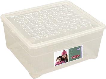 Curver - Caja para Ropa y Textil del Hogar 18,5L. - Con Tapa - Color Cristal: Amazon.es: Hogar