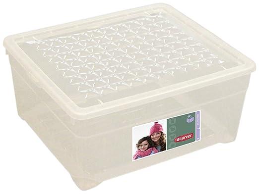 Curver - Caja para Ropa y Textil del Hogar 18,5L. - Con Tapa - Color Cristal