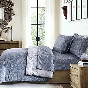 Southshore Fine Linens - Winter Brush Print - Reversible Comforter Sets, 3 Piece Set, King / California King, Blue