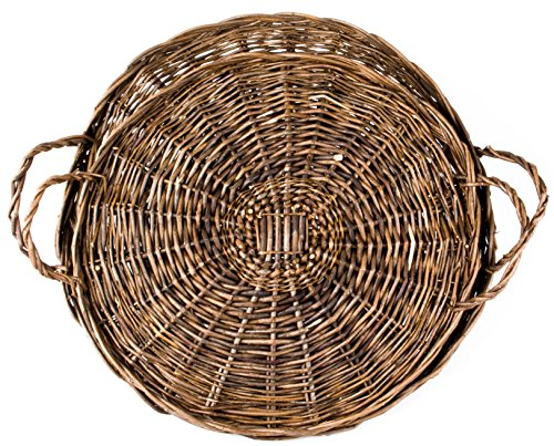 American Primitive Willow Tray With Handles - Round - Set of 2