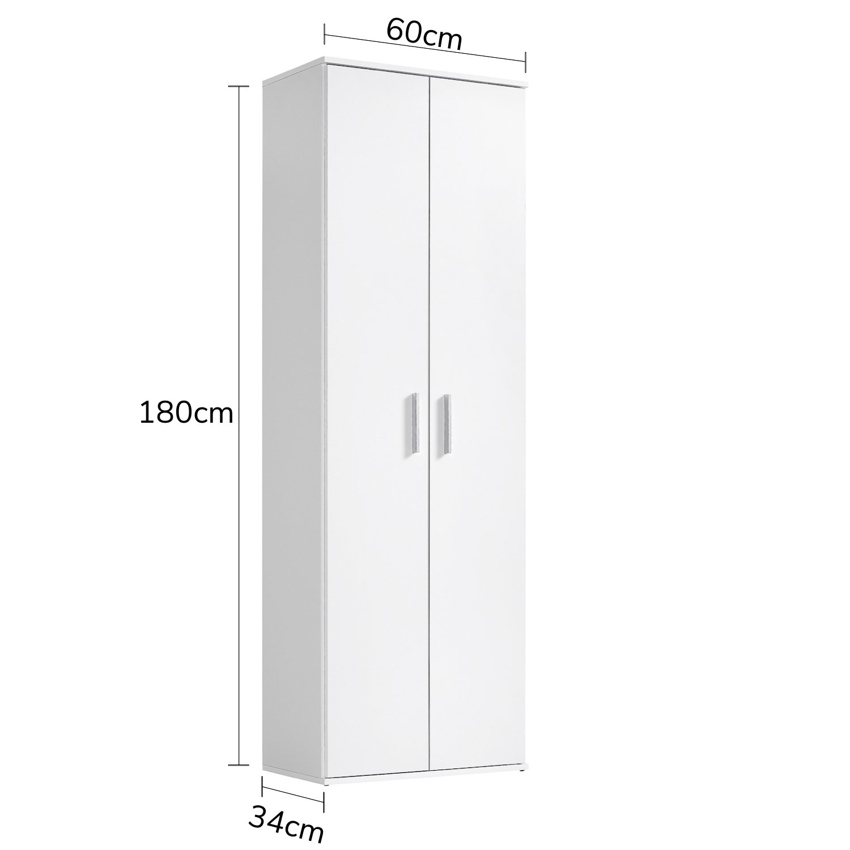 Qovi9 'Der Lange' Mehrzweckschrank, Aktenschrank, Aktenschrank, Aktenschrank, Schrank, Büroschrank, Universalschrank, Beistellschrank, in Weiß, 60x180x34 cm (B H T), Made IN Germany  c2d255