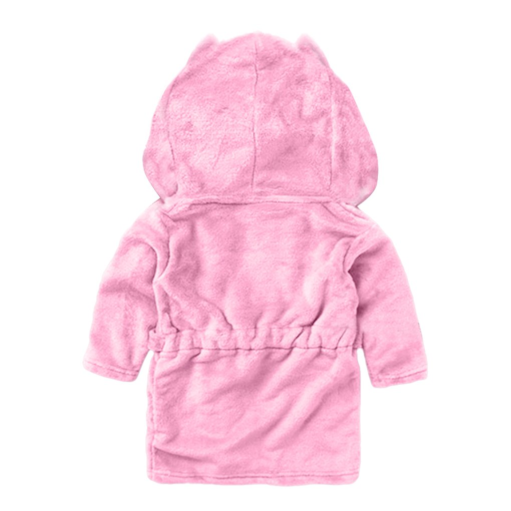 Kids Toddler Cute Animal Soft Fleece Hooded Plush Robe Kimono Bathrobe Children Pajamas Sleepwear Housecoat