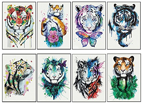 8 Sheets Lifelike Tiger And Lion Temporary Tattoos, Animal Fake Waterproof Tattoo Stickers-For Adults or Kids(By MoreShow)
