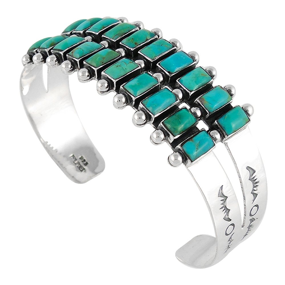 Turquoise Bracelet Sterling Silver 925 Genuine Turquoise (Select Style) (2-ROW Rectangles)