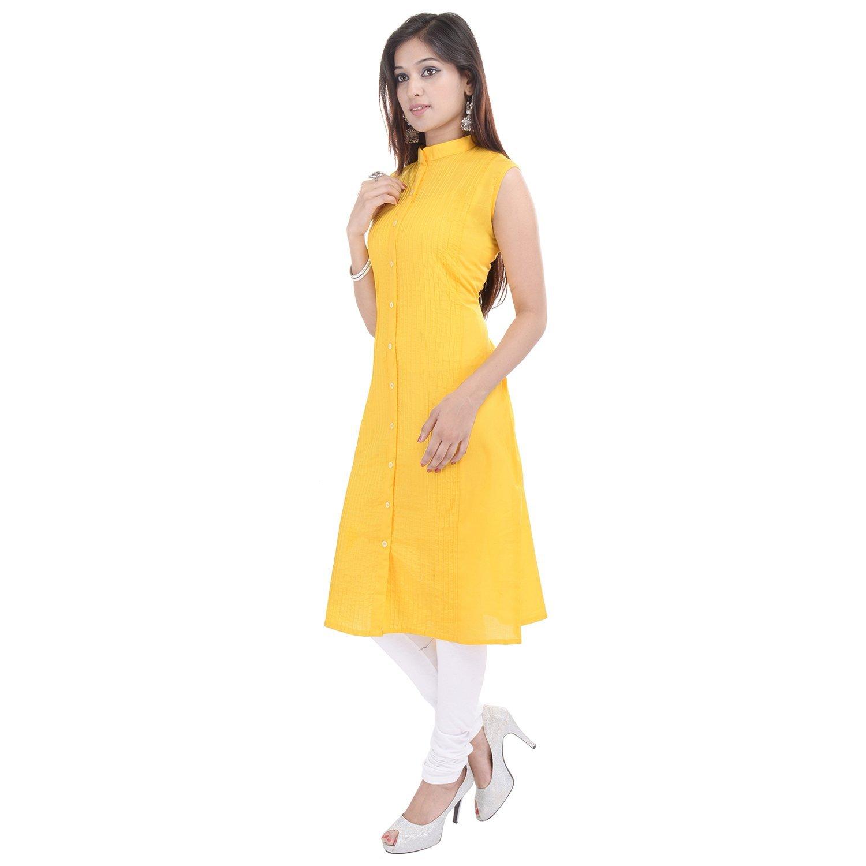 Chichi Indian Women Kurta Kurti Sleeve Less XX-Large Size Plain Straight Yellow Top by CHI (Image #3)
