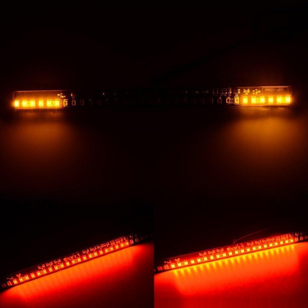 DLLL Red//Amber Waterproof 33SMD 3528 12V Universal Fender Mudguard Flexible LED Bar Strip Light Tail Brake Stop Running Left//Right Turn Signal Integrated Light Strip License Plate Light Lamp for Motorcycle Dirt Bike ATV Car RV SUV