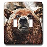 3dRose lsp_235482_2 Painted Portrait of a Brown Bear with a Smirk in the Woods Toggle Switch, Mixed