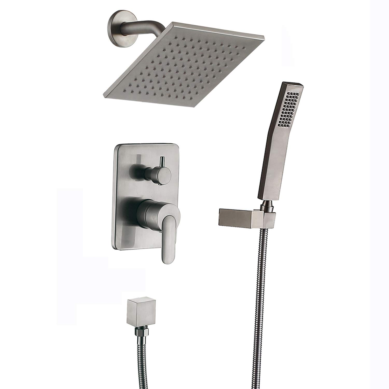 Shower Faucet.Shower Faucet Brushed Nickel All Metal Shower Systems Big Flow Rain Shower Heads With Handheld Spray Fixtures Sets Complete