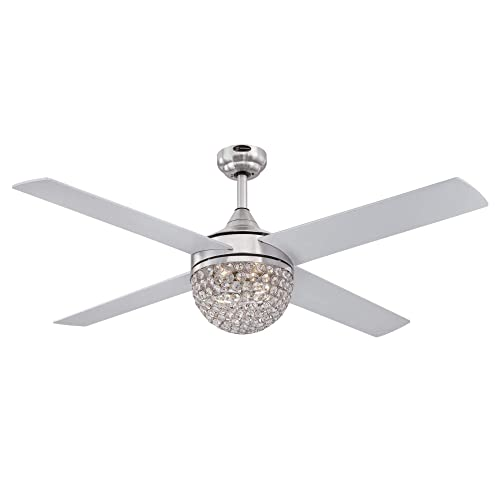 Westinghouse Lighting 7220600 Kelcie 52-Inch Brushed Nickel Indoor, Dimmable LED Light Kit with Crystal Jewel Shade, Remote Control Included Ceiling Fan,