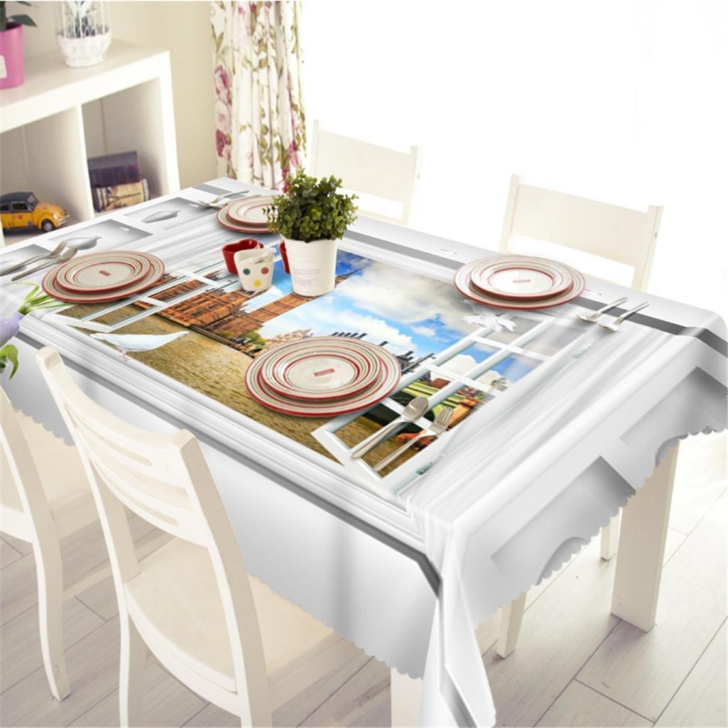 1 n Tischdecke 3D Landschaft außerhalb des Fensters Polyester Drucken Staubdicht Verdickt Tischabdeckung Küche Dekoration , 1 , n