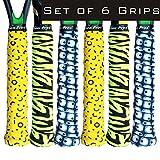 Alien Pros Tennis Racket Grip Tape (6 Grips) - Precut and Dry Feel Tennis Grip - Designer Tennis Overgrip Grip Tape Tennis Racket - Wrap Your Racquet for High Performance (6 Grips, Magic Tiger)