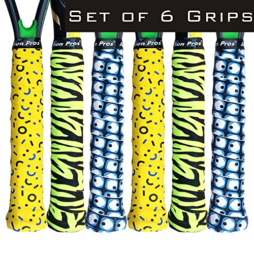 Alien Pros X-Dry Tennis Overgrip Tape (6-Pack) Perfect for Your Tennis Racket, Racquetball Grip, Squash Racquet and More (Variety Pack – Magic Tiger, 6-Pack)