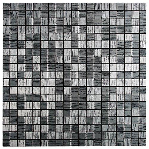 Royllent Modern Matel Aluminum Mosaic Bursh Type Peel&Stick Tiles Kitchen Decoration Backsplash Accent wall Tv&Sofa Background Bathroom Wall 1 Sq.ft (Zebra) - Grout Glass Mosaic Tile