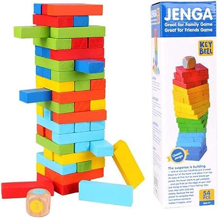 ANGLE Apilamiento de Color de Alto Nivel de los niños de Bombeo Bloques de Domino Juguete de Escritorio Multi-Juego Partido Juego Juegos 54 Piezas: Amazon.es: Hogar