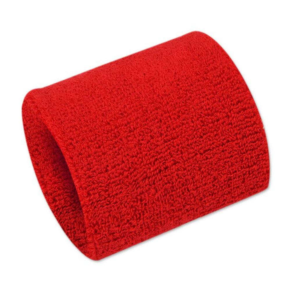 YHMEI 2 Pcs Unisex Sports Sweatbands Wristband for Sport Tennis Football Softball Basketball, Red HWR2
