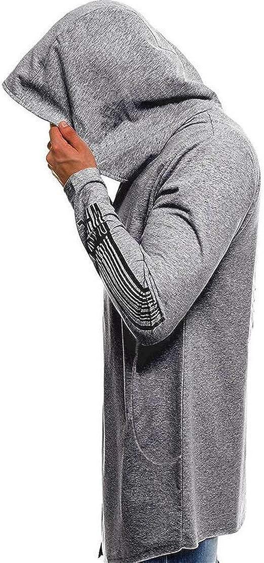 Wan-T Mens Open Front Hooded Goth Print Long Sweatshirt Jacket Coat
