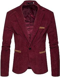 Pervobs Men's Autumn Winter Corduroy Button Pocket Long Sleeve Coat Blazer Jacket