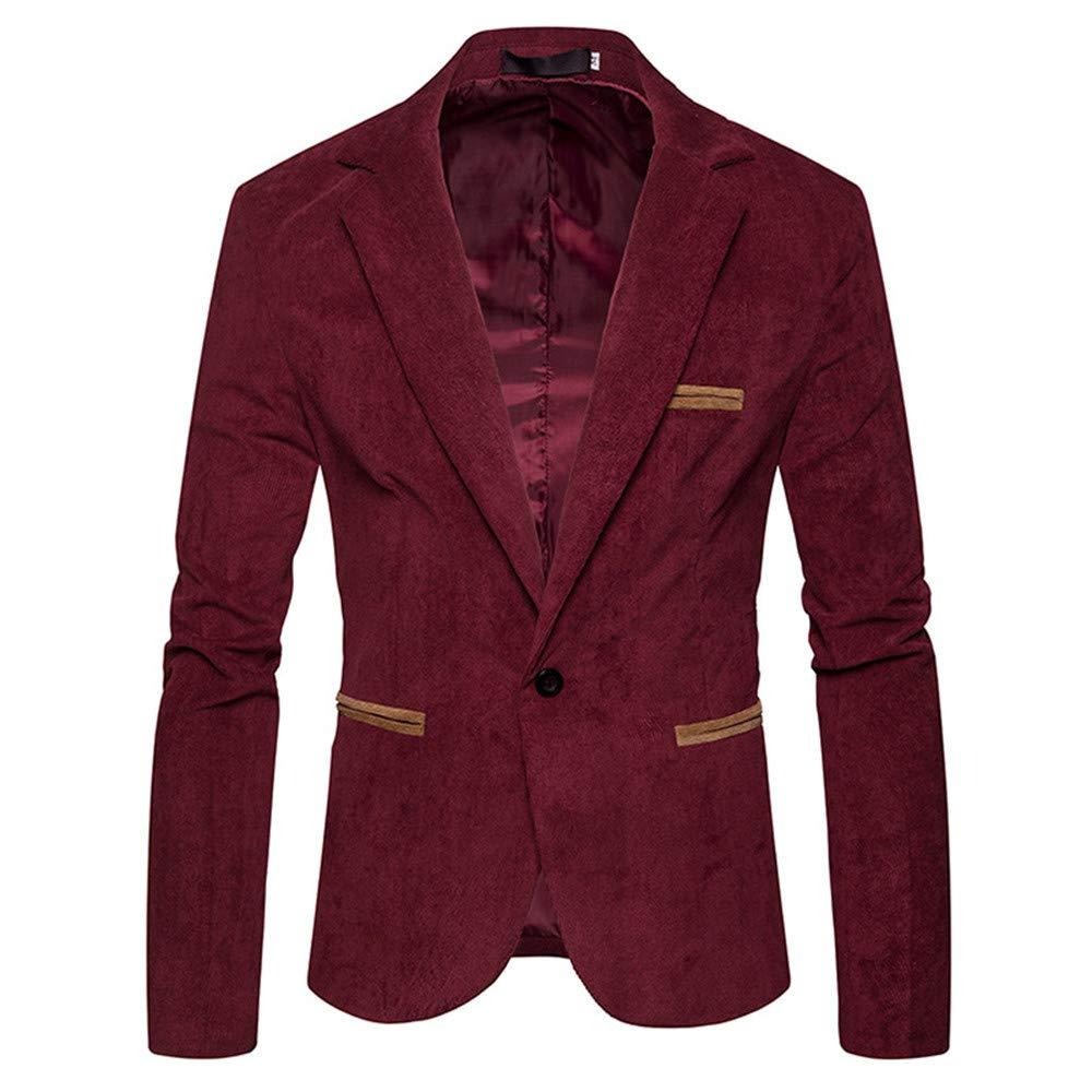 Ennglun Jacket mens Coats Men's Coat for Men's Autumn Winter Corduroy Slim Coat Suit Blazer,Pea Coat (L,Red)