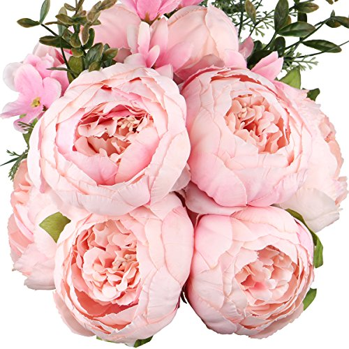 Leagel Fake Flowers Vintage Artificial Peony Silk Flowers Bouquet Wedding Home Decoration, Pack of 1 (Spring Rose Red) (Bouquet Peony Rose)